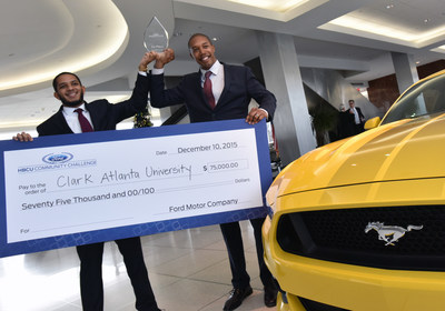 Bradley Gilbeaux and Damon Willis, MBA candiates at Clark Atlanta University, announced winning team of 2015 Ford HBCU Community Challenge