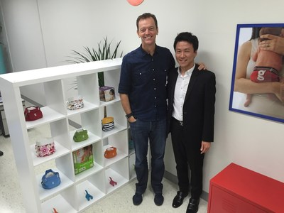 L-R Jason Graham-Nye, co-founder of gDiapers and Mike Chun, president of Cozy Maman