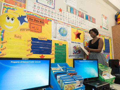 Emerson Elementary-Middle School Principal Brenda Carethers gets ready for a new school day to begin.