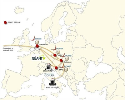 Map of the ONOS/ICONA OpenFlow network, running on a slice of the GTS testbed facility offered by GEANT.