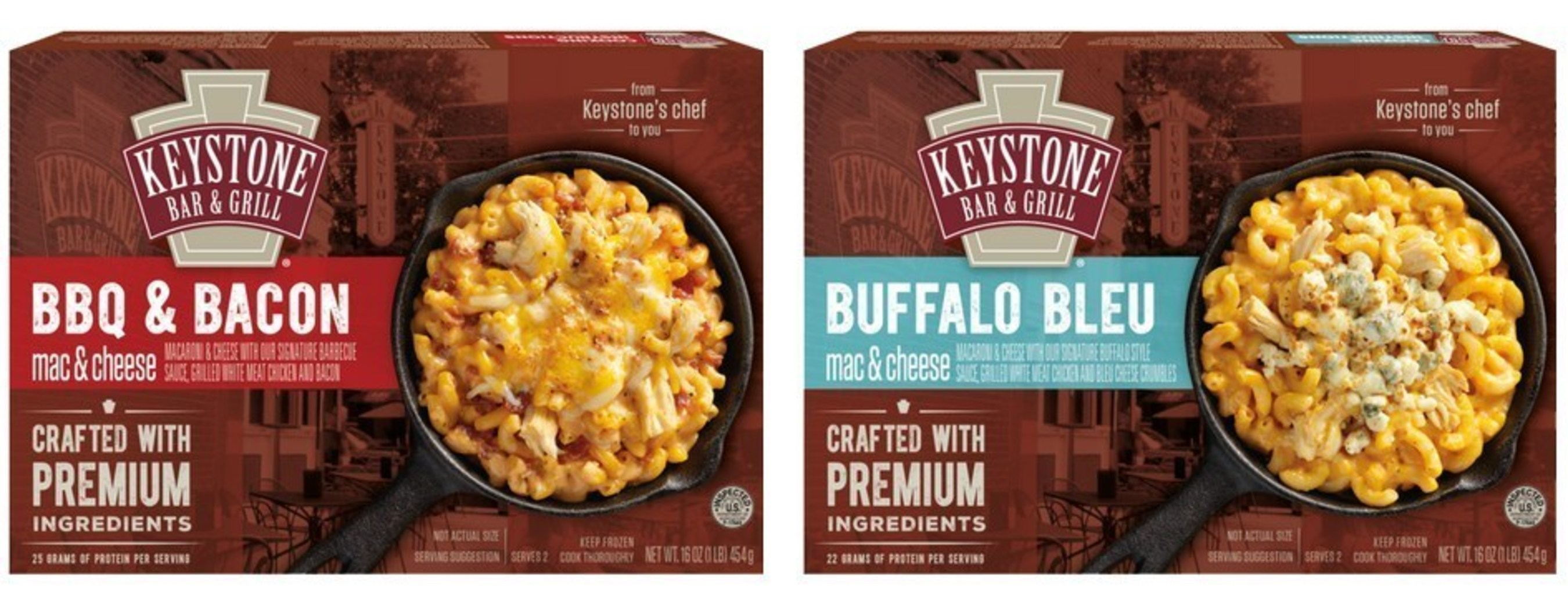 Keystone Bar & Grill's BBQ & Bacon and Buffalo Bleu frozen mac & cheeses now available at Kroger stores in the Midwest.