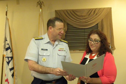 MPT Amy Beavers and USCG by Rear Admiral Joseph Servidio discuss new tole on MERPAC (PRNewsFoto/MPT)