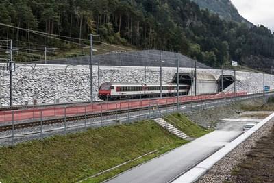 North portal at Erstfeld: Commissioning of the Gotthard Base Tunnel (Credit: Maurus Huwyler) (PRNewsFoto/Swiss Travel System AG)