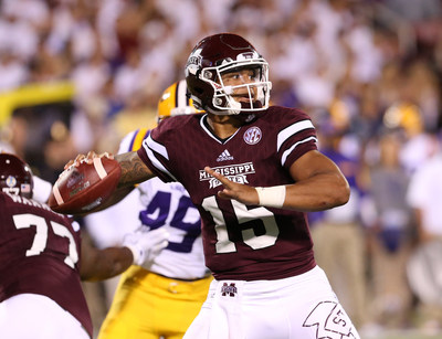Mississippi State quarterback Dak Prescott, who set 38 school records for passing, rushing and scoring during his career, won the C Spire Conerly Trophy as the Magnolia State's top college football player for the second year in a row.