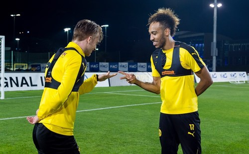 'Who will be taking Dortmund's #18toWin penalty? Marco Reus or Pierre-Emerick Aubameyang?' ...
