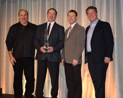 Perkins & Marie Callender's, President & CEO, Jeff Warne (pictured far right) recognized JDK Management as the 2015 recipient of the Company's highest honor, the Perkins Franchisee of the Year award at Perkins Franchise Conference held in Minneapolis, Minnesota. Joining Mr. Warne from left to right are: Russ Berner, Vice President of Restaurant Operations, Clint Klingerman, Executive Vice President and Brian Klingerman, Executive Vice President, all representing JDK Management.
