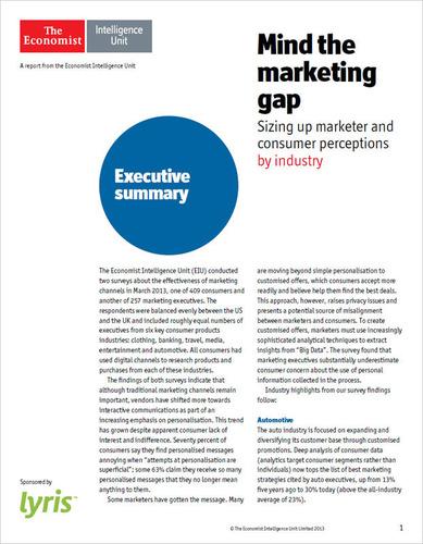 Mind the Marketing Gap.  (PRNewsFoto/Lyris, Inc.)