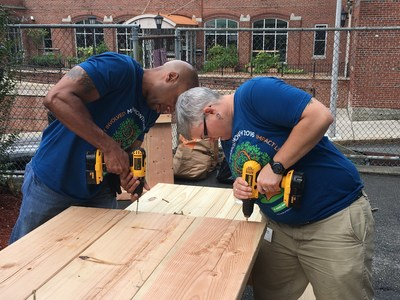 During Mission Month, Delta Dental of Massachusetts employees volunteered at the local Charlestown Lacrosse & Learning Center by building picnic tables and planter boxes for the urban garden.