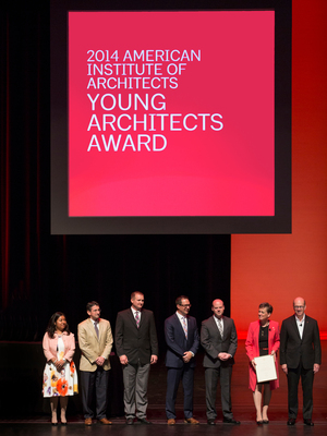Dean Christian Sottile with a few of the other AIA Young Architects Award recipients being honored at the AIA Convention. (PRNewsFoto/SCAD)