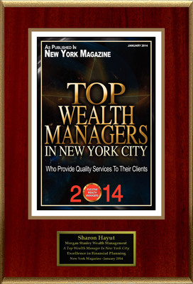 """Sharon Hayut Selected For """"2014 Top Wealth Managers In New York City"""". (PRNewsFoto/American Registry) (PRNewsFoto/AMERICAN REGISTRY)"""