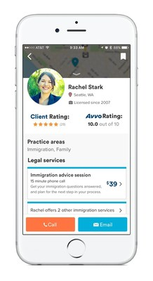 Avvo app with lawyer profiles, reviews, rating