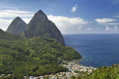 The beauty of St. Lucia awaits Disney Cruise Line guests when the Disney Wonder sails seven-night Southern Caribbean cruises from San Juan, Puerto Rico in 2018. Distinguished by twin mountain peaks, the Pitons, the island of St. Lucia is covered in lush rainforest, cascading waterfalls and white sand beaches (Kent Phillips, photographer)
