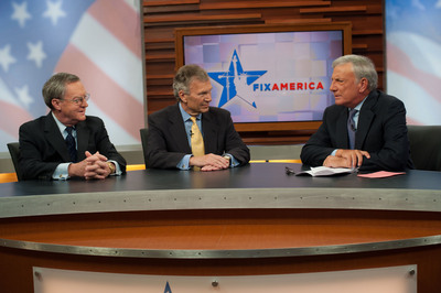 "Host Aaron Brown (right) discusses education in America today with Former Senate Majority Leader Tom Daschle (center) and entrepreneur and RLTV founder John Erickson (left) in  ""Fix America: Education,"" premiering on RLTV Thursday, Dec. 13 at 9 PM ET.  (PRNewsFoto/RLTV)"