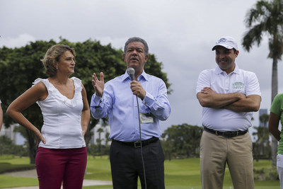 Former President of the Dominican Republic Dr Leonel Fernandez, Natasha Despotic GFDD Executive Director and Ricardo Jacobo Tournament Director and GFDD collaborator.
