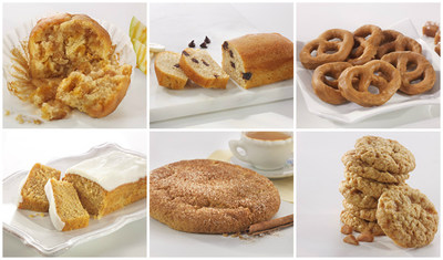 Nutrisystem announces that six seasonal products -- (clockwise) Caramel Apple Muffin, Banana Chocolate Chip Bread, Caramel Flavored Pretzels, Toffee Crunch Cookies, Snickerdoodle Cookie and Pumpkin Loaf -- will be available to customers this fall.