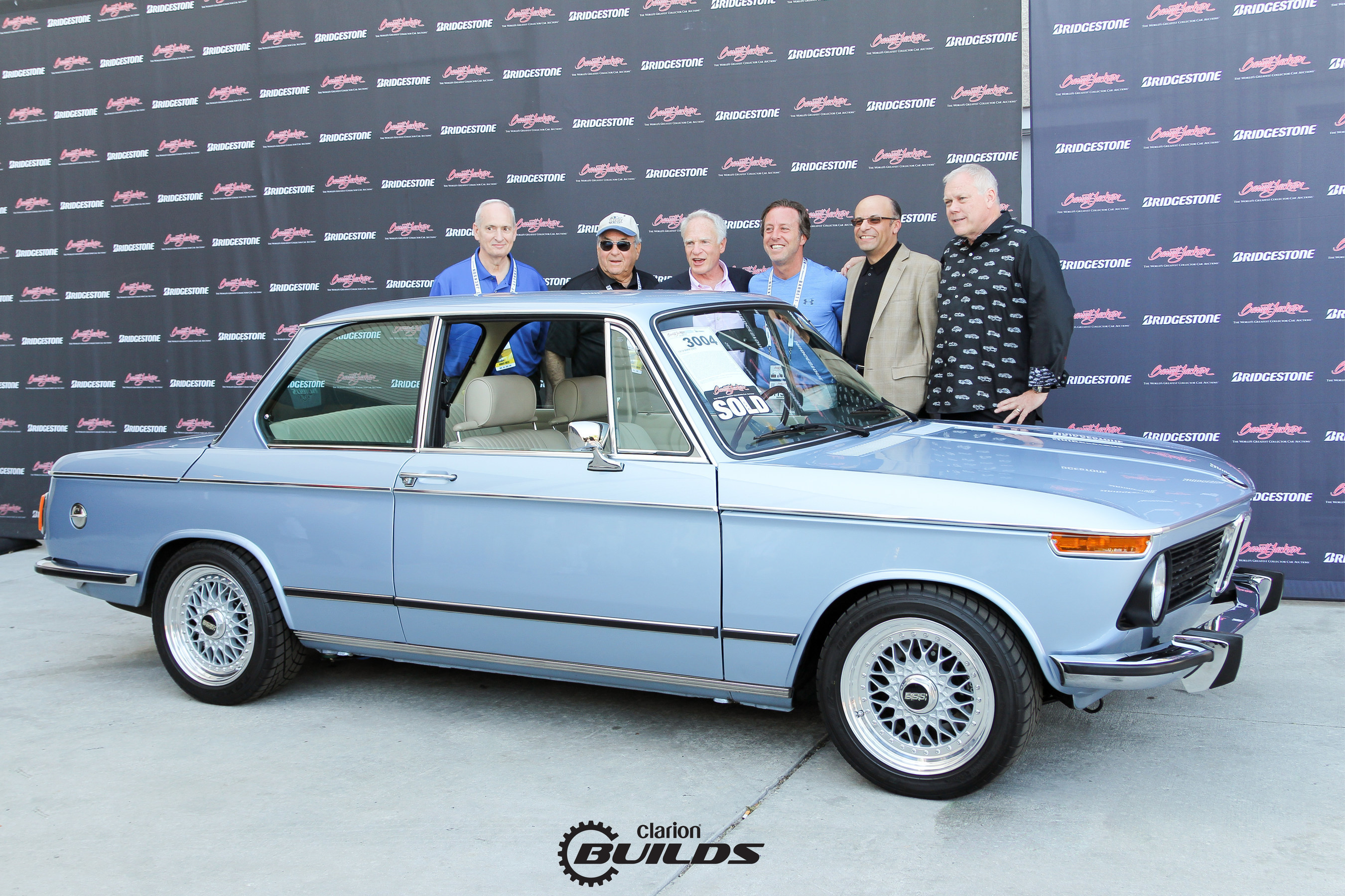 Clarion Builds 1974 BMW 2002 sells at Barrett-Jackson Palm Beach for $125,000, all proceeds donated to TGen Foundation to support cancer research.