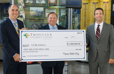 Kent Dunn, Managing Principal of Tropicana Student Living (center), presents check to Mark Massari, Director of UCSB Athletics (left) and Andrew Checketts, Baseball Head Coach (right) at the Intercollegiate Athletics building. (PRNewsFoto/Tropicana Student Living)