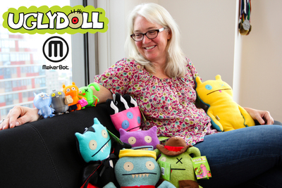 MakerBot and Pretty Ugly announced at the Licensing Expo a collaboration to bring Uglydoll characters to the MakerBot Digital Store. Pictured is MakerBot president and Uglydoll fan Jenny Lawton with the new 3D printed Uglydoll characters Babo, Wage, Ice-Bat and Ox, as well as some of her favorite plush Uglydoll friends. The 3D printed Uglydoll characters are available to purchase, download and 3D print from the MakerBot Digital Store http://www.makerbot.com/digitalstore.