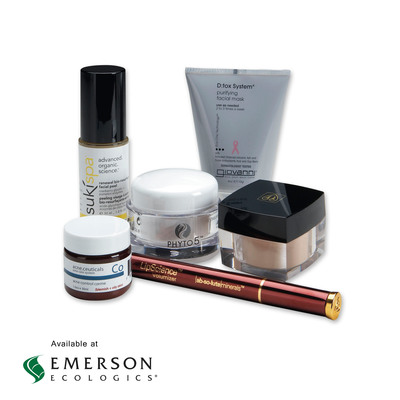 NINE NEW ALL-NATURAL FACIAL CARE BRANDS ARE NOW AVAILABLE AT EMERSON ECOLOGICS. This expanded selection of natural and organic facial care brands, along with cosmetics and body care, includes: Absolute Minerals, DoshaCare, Giovanni Cosmetics, L'uvalla, Phyto 5, Raw Skin Ceuticals, Shankara, Sophyto, and Suki.  These vegan, ayurvedic, cruelty-free and gluten-free skin care lines are results-driven and provide healthier options for integrative clinics, massage therapists and licensed estheticians to offer their patients.  (PRNewsFoto/Emerson Ecologics, LLC)