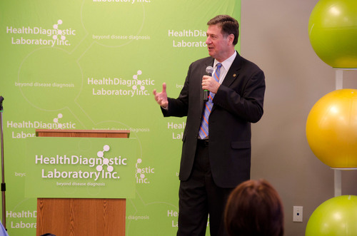 Former Virginia Governor George Allen speaks at Health Diagnostic Laboratory, Inc.'s Town Hall Meeting.  ...