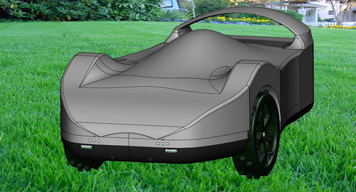 SmartMow robot lawn mower featured in silver.  (PRNewsFoto/RoboLabs, Inc.)
