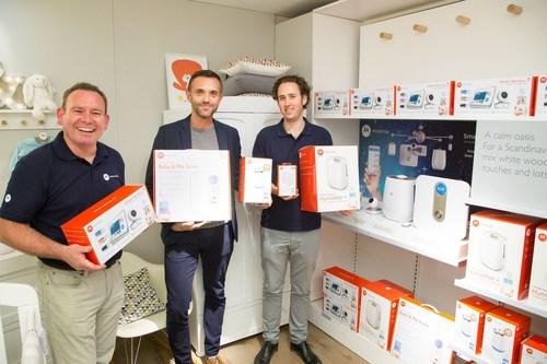 Joel Lucy (Sales Manager), David Flintoft (Sales & Marketing Director) and Jon Bugden (Marketing Manager) at the Motorola Smart Nursery launch at John Lewis, Oxford St (PRNewsFoto/Binatone Global)