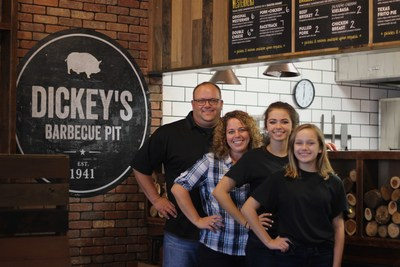 The Wood family opens new Dickey's location in Bradenton, FL. From left to right: Dan Wood, Pam Wood, Lauren Wood and Kaitlyn Wood