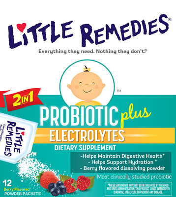 Little Remedies(R) Probiotic Plus Electrolytes is the first and only product that combines a probiotic and electrolytes in one convenient packet designed specifically for babies.