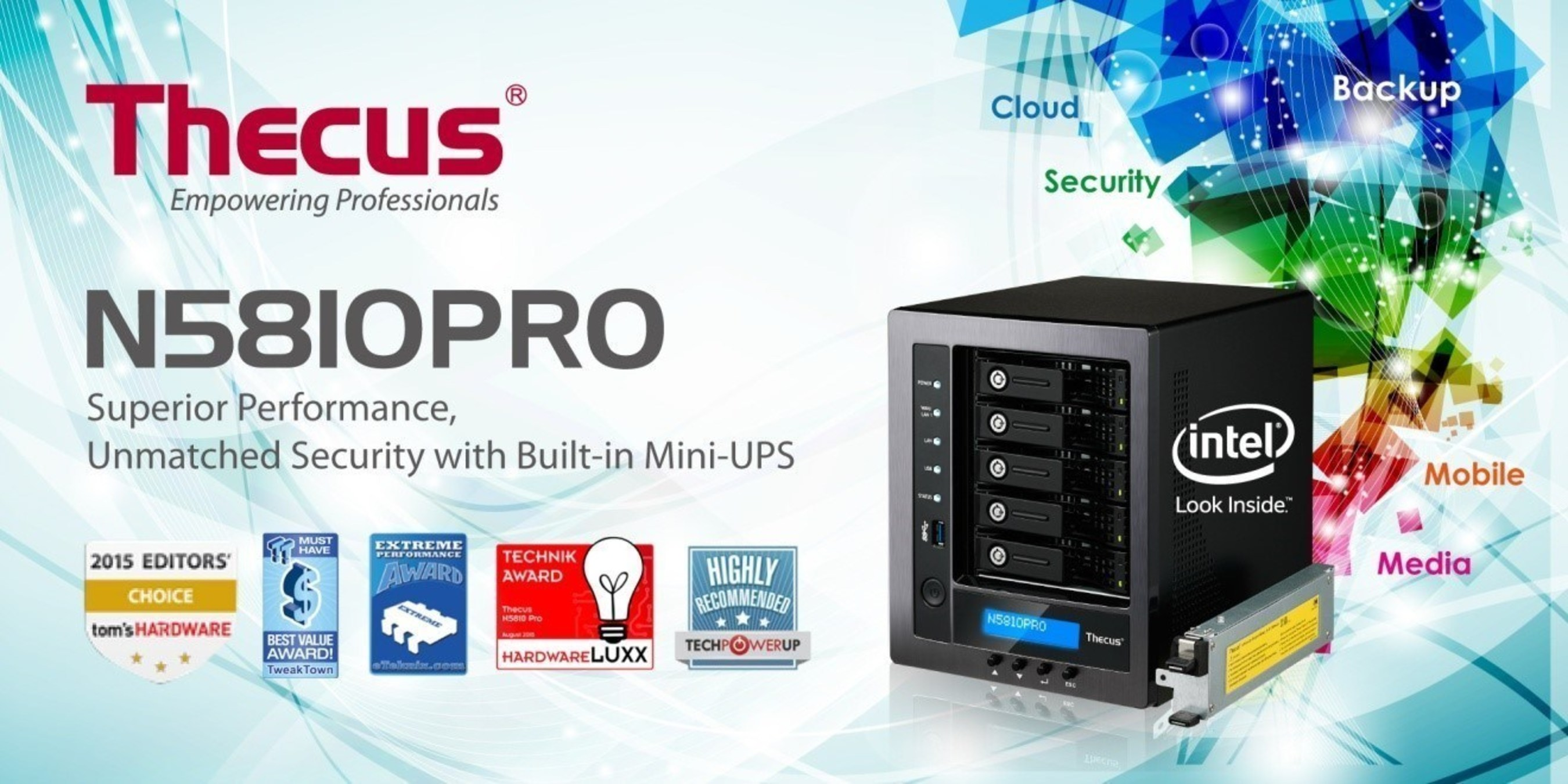 The Next Generation NAS: Thecus' Award-Winning N5810PRO NAS with Built-in Mini-UPS Now Available Globally