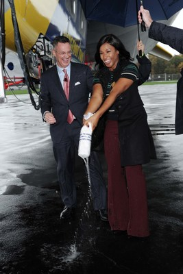 Savannah James, Akron, Ohio, native, philanthropist and wife of LeBron James, christens The Goodyear Tire & Rubber Company's newest blimp - Wingfoot Two - alongside Goodyear Chairman, Chief Executive Officer and President Richard J. Kramer, on Fri., Oct. 21, 2016 in Akron. The official christening of Wingfoot Two marks the growth of Goodyear's new, innovative fleet of iconic blimps.
