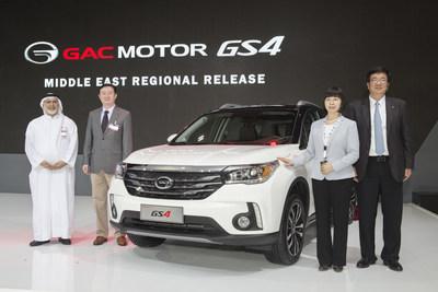CEO of Gargash Enterprises Samir Gargash, Chinese Ambassador to UAE Chang Hua, Consul General of China in Dubai Li Lingbing and general manager of GAC Motor Wu Song (from left to right) at the GAC Motor booth of 2015 Dubai International Motor Show.