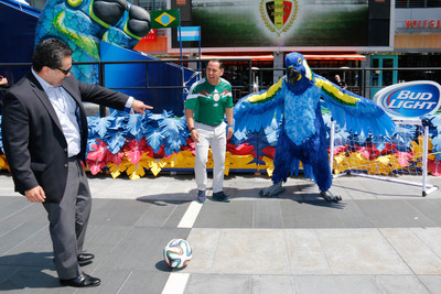 Los Angeles, June 17, 2014 - President and CEO of the Hispanic Scholarship Fund (HSF), Fidel Vargas, kicks a ceremonial $100,000 goal to launch the Bud Light donation of one university scholarship to HSF for each goal scored during the 2014 FIFA World Cup. (PRNewsFoto/Bud Light)