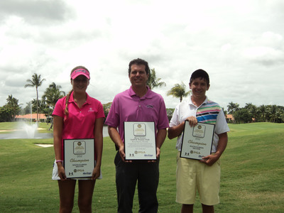 SFPGA Junior Championship Overall Winners with Boca Grove's Director of Golf(L to R) Valentina Haupt, Chad Kurmel, Anthony Gabriele.  (PRNewsFoto/Boca Grove Golf and Tennis Club)