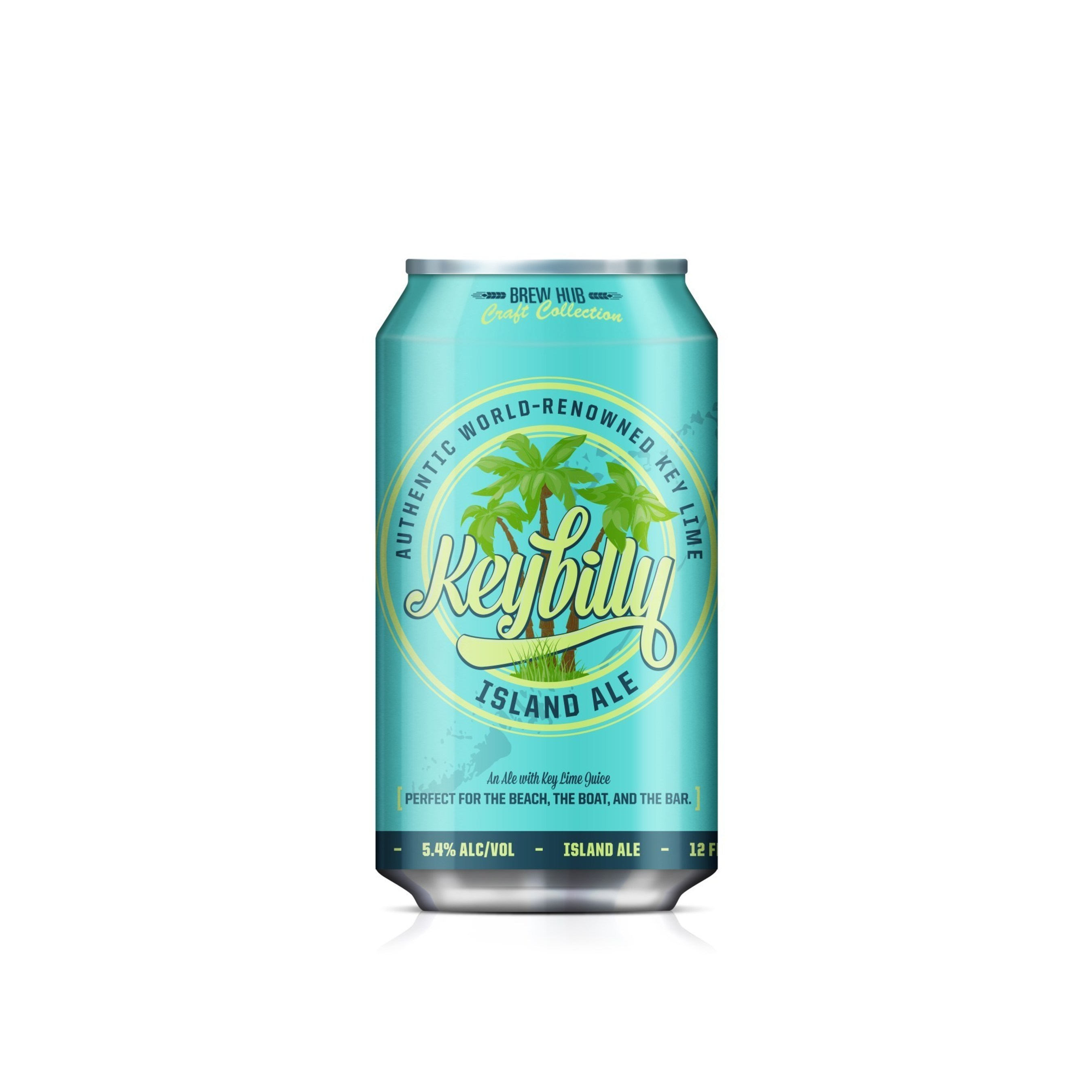 Twelve-ounce can of Keybilly Island Ale brewed at Brew Hub in Lakeland, Florida.