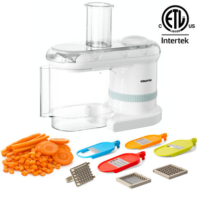 The only household electronic mandoline that not only slices, shreds, grates, and chops, but also dices - the Gourmia Power Dicer Slicer Plus.