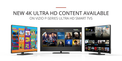 VIZIO Adds New Apps Supporting 4K Ultra HD Content to VIZIO Internet Apps Plus? and Advanced Picture Quality Enhancements For VIZIO P-Series Ultra HD Smart TVs. New Apps Supporting 4K Include Amazon Instant Video, UltraFlix and Toon Goggles.