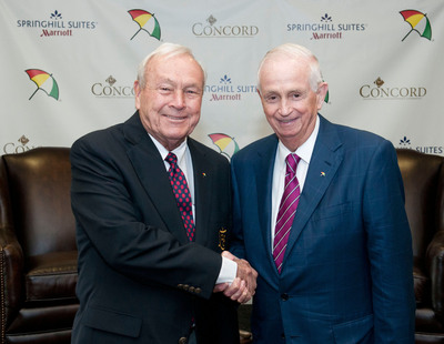 """Industry icons Bill Marriott and Arnold Palmer mark the pairing of two world-renowned American brands as they open SpringHill Suites Latrobe in Palmer's Hometown -- The hotel offers guests an exclusive opportunity to play """"Arnie's"""" course.  (PRNewsFoto/Marriott International, Inc.)"""