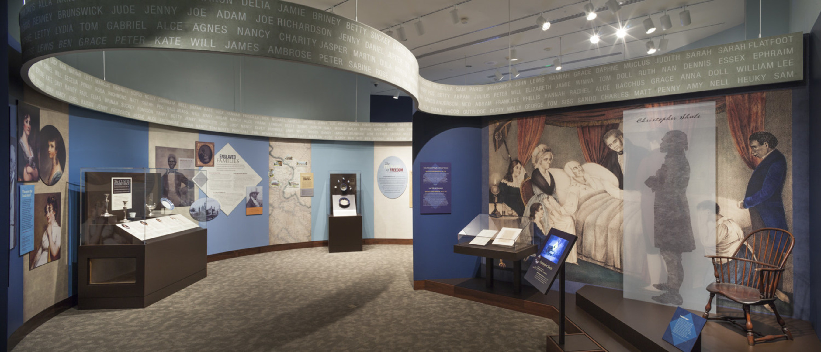 A gallery scene from Mount Vernon's newest exhbition. The exhibition, Lives Bound Together, tells the story of the enslaved men and women who worked at Mount Vernon and Washington's growing opposition to slavery.  The exhibition opened October 1, 2016 at Mount Vernon and will be on view through late 2018. www.mountvernon.org/livesboundtogether
