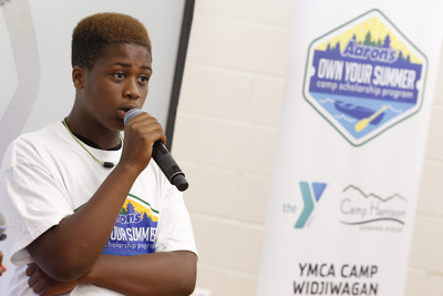 "Aaron's ""Own Your Summer"" Camp Scholarship recipient, Neville Williams, 13, of Charlotte, N.C. spoke about his overnight camp experience at Camp Harrison this summer. A hundred kids were able to go to overnight camp this summer because of Aaron's ""Own Your Summer"" Camp Scholarship Program."