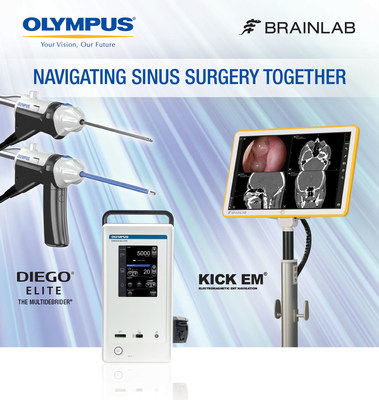 Olympus DIEGO(R) ELITE Multidebrider(R) paired with Brainlab Kick(R) Navigation increases efficiency and safety of complex ENT surgeries. (PRNewsFoto/Olympus)