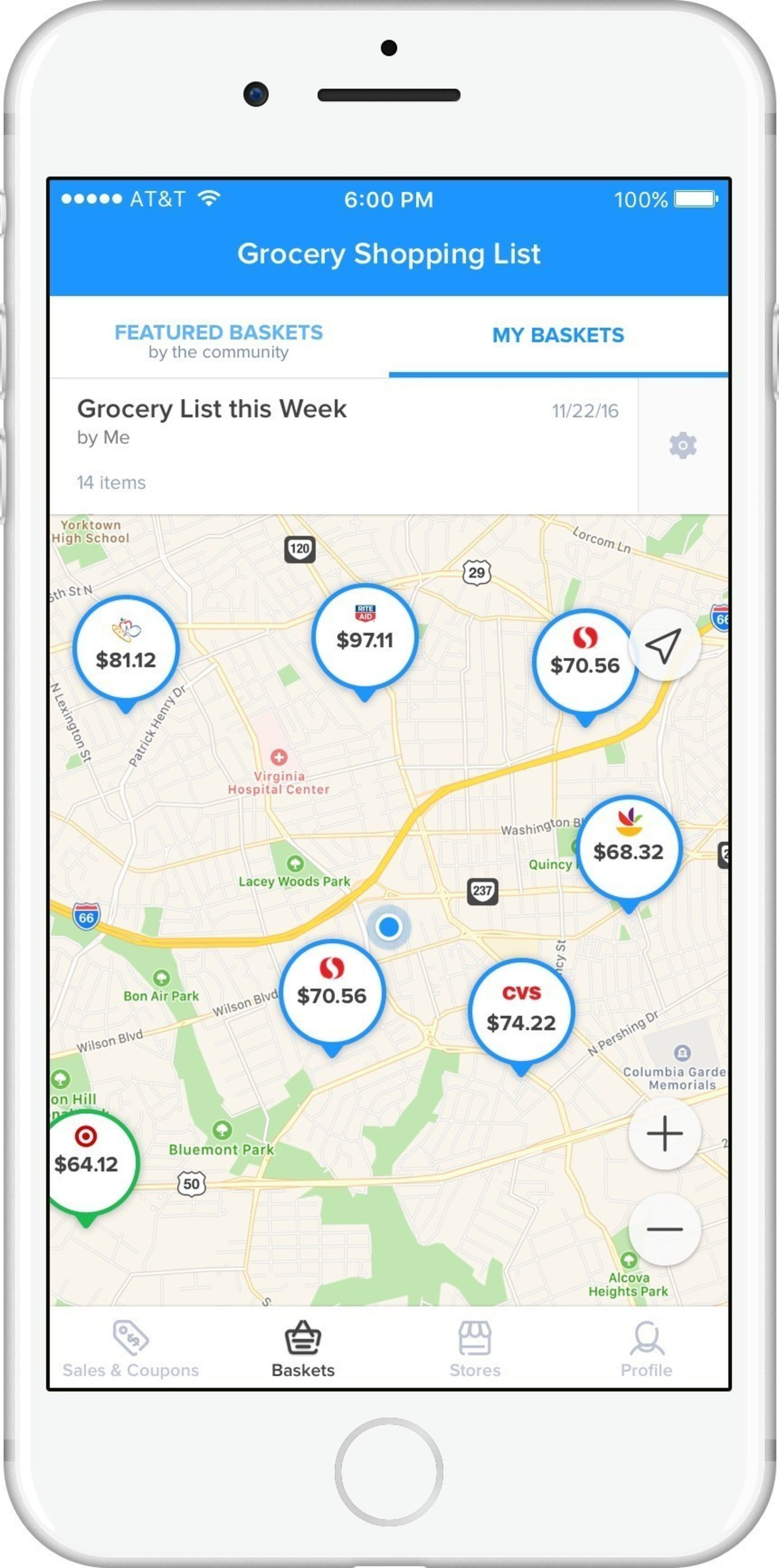 Basket users can see and compare prices at nearby grocery stores.
