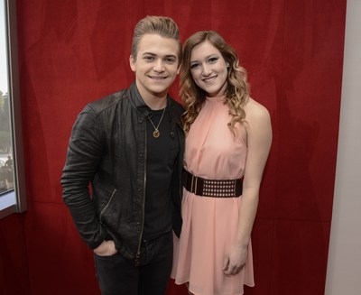 """Hunter Hayes congratulates Whirlpool brand """"Care is Musical"""" contest winner Alex Bell on February 5, 2015, in Los Angeles, Calif. Learn more about Alex at Whirlpool.com/everydaycare. (Photo by Dan Steinberg/Invision for Whirlpool brand/AP Images)"""