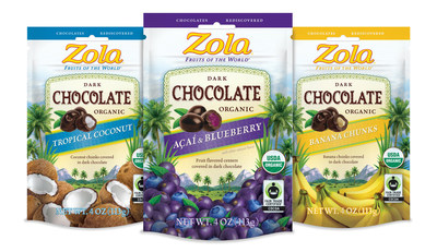 Zola's Dark Chocolate Covered Fruit is certified Organic and Fair Trade making this serious dark chocolate. An exciting upgrade to the growing category, it's authentically natural and available in Acai & Blueberry, Banana Chunks and Tropical Coconut.