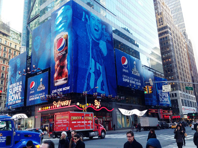 Pepsi Takes Over Times Square to Get Fans Hyped for the Pepsi Super Bowl XLVIII Halftime Show (credit: Pepsi).  (PRNewsFoto/Pepsi)