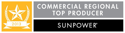 "SunPower ""Commercial Regional Top Producer of the Year"" award.  (PRNewsFoto/Vista Solar Inc.)"
