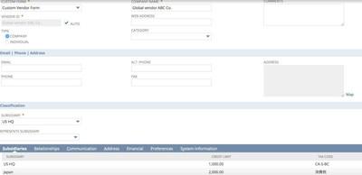 NetSuite OneWorld 16 - Global Vendor