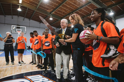 Nancy Lieberman and Camden, S.C. Mayor Tony Scully dedicate new Dream Court at Boys & Girls Clubs of the Midlands-Jackson Teen Center.