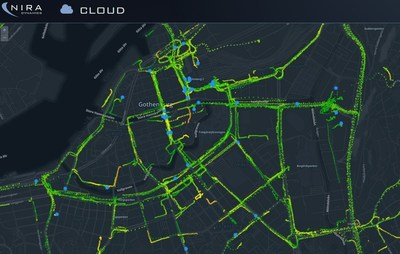 Online, real-time road friction map of Gothenburg (PRNewsFoto/NIRA Dynamics) (PRNewsFoto/NIRA Dynamics)