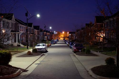 Solar lights illuminate Richmond neighborhood at night (PRNewsFoto/Sol Inc.)