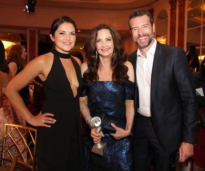Gracies Host Marika Dominczyk (L), Lifetime Achievement Honoree Lynda Carter and Scott Foley (R) at The 41st Gracie Awards May 24, 2016 at the Beverly Wilshire.